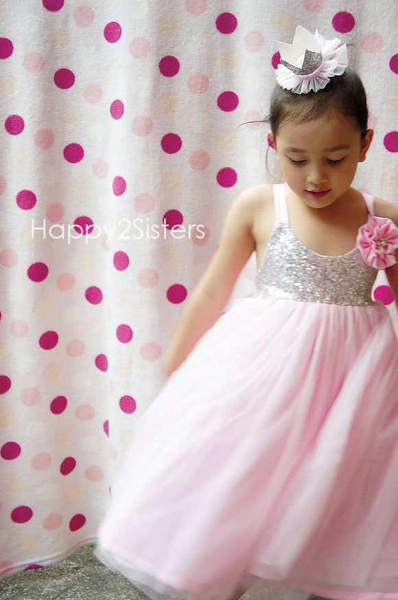 Sliver sequins and tulle flower Girls dress