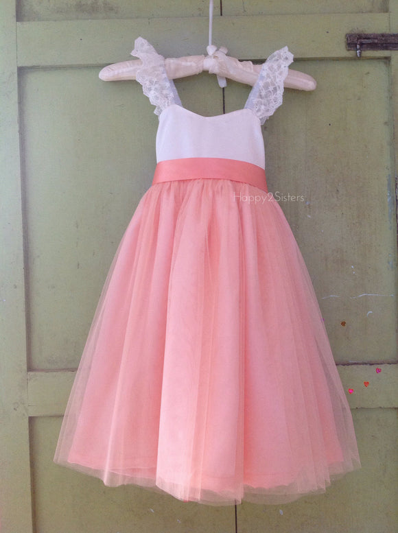 Ivory and Peach Flower Girls dress, Rustic flower girl dress, Toddler flower girl dress, Flower girl dress.