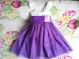 Ivory and Purple Flower Girls dress, Toddler girl dress, Baby girl dress, Girl birthday outfit, Rustic flower girl dresses.