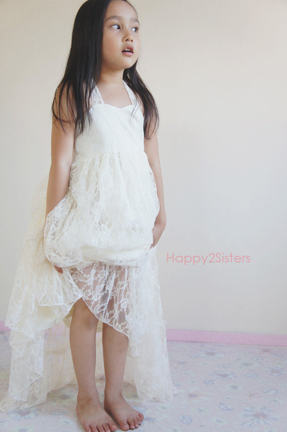 Lace maxi flower girl dress.