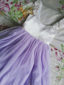 Ivory and Lavender Flower Girls dress Lavender flower girl dress Tulle flower girl dress