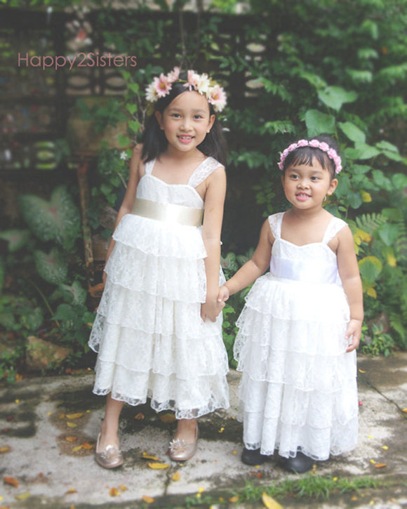 Lace flower girl dress Ruffle girl dress Country flower girl dress Flower girl dresses
