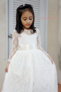 Ivory Flower girl dress, Rustic flower girl dress, Beach flower girl dress, Lace flower girl dress, Off-White dress, Destination Wedding