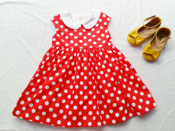Girls dress white polka dot and red Minnie girl dress Minnie mouse costume Girl minnie mouse dress