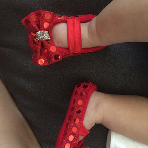 Red baby Girl Shoes, Baby soft sole shoes, Red ruby baby shoes
