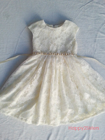 Lace ivory girl dress, cap sleeve girl dress
