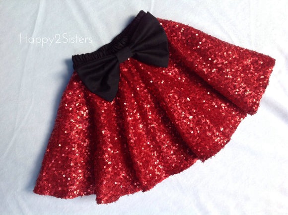 Red sparkle girl skirt.