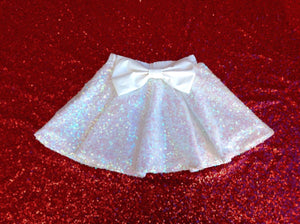 Girls white sequin skirt