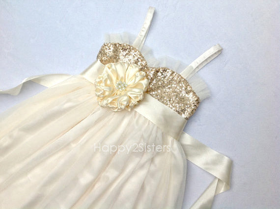 Gold sequin and ivory flower girl dress sizes 9y -14y Junior bridesmaid dress Tween flower girl dress Flower girl dress size 14