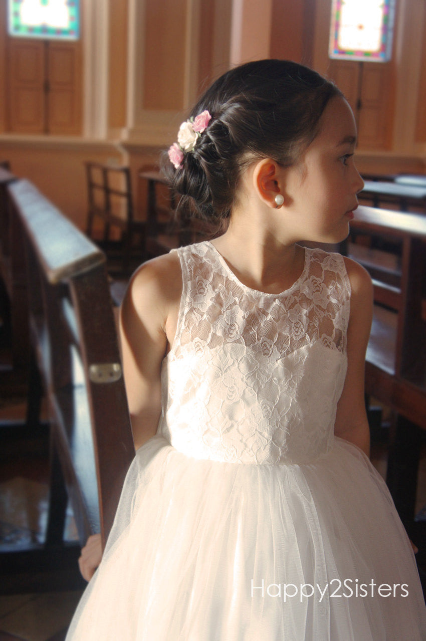 Lace And Tulle Flower Girl Dress Ivory Flower Girl Dress Girl Gown