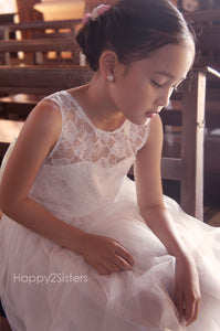 Lace and tulle flower girl dress Ivory flower girl dress Flower girl dresses