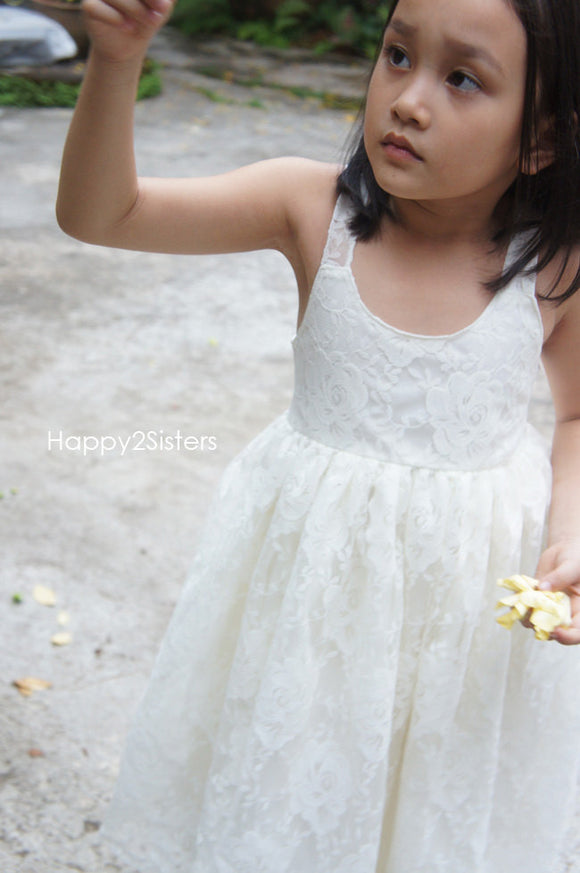 Lace flower girl dress Ivory lace flower girl dress Boho flower girl dress Rustic flower girl dress