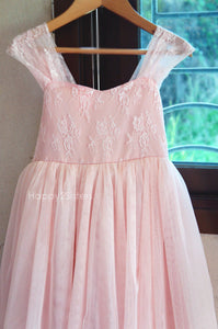 Lace and tulle blush flower girl dress Floor length flower girl dress Blush flower girl dress