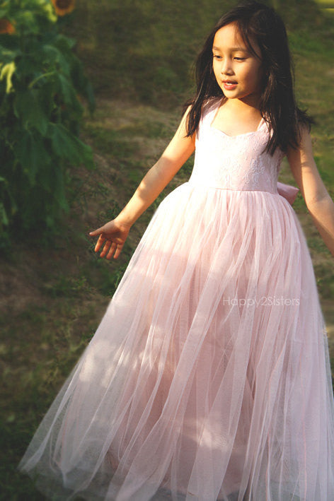 Blush flower girl dresses Lace and tulle flower girl dress Full length flower girl dress Beach flower girl dress Junior bridesmaid dress