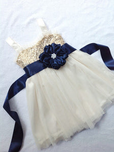 Gold sequin and ivory flower girl dress for sizes 9y-14y Junior bridesmaid dress Tween dress Flower girl dress size 14y