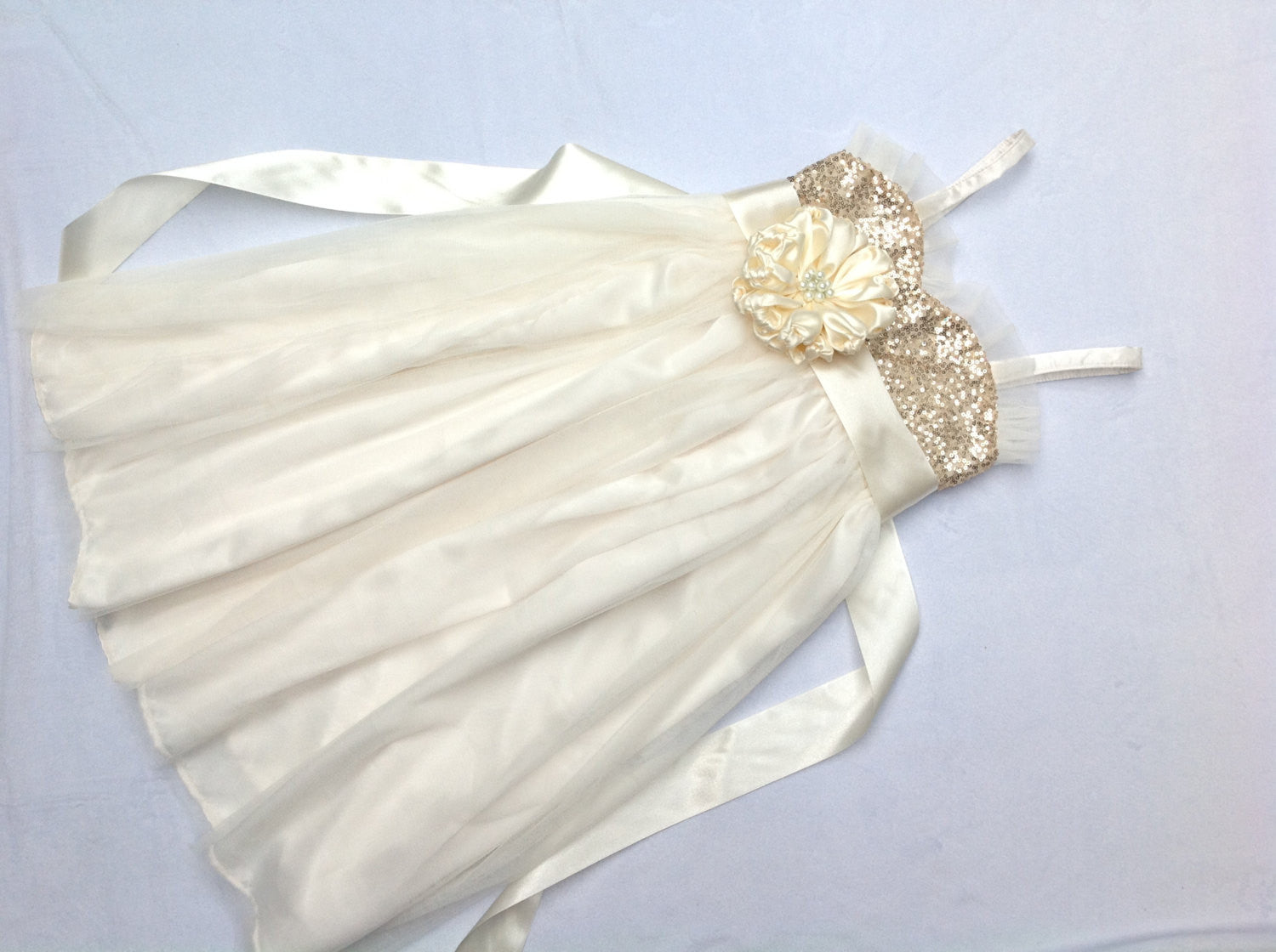 3e02858a3e ... Gold sequin and ivory flower girl dress for sizes 9y-14y Junior  bridesmaid dress Tween ...