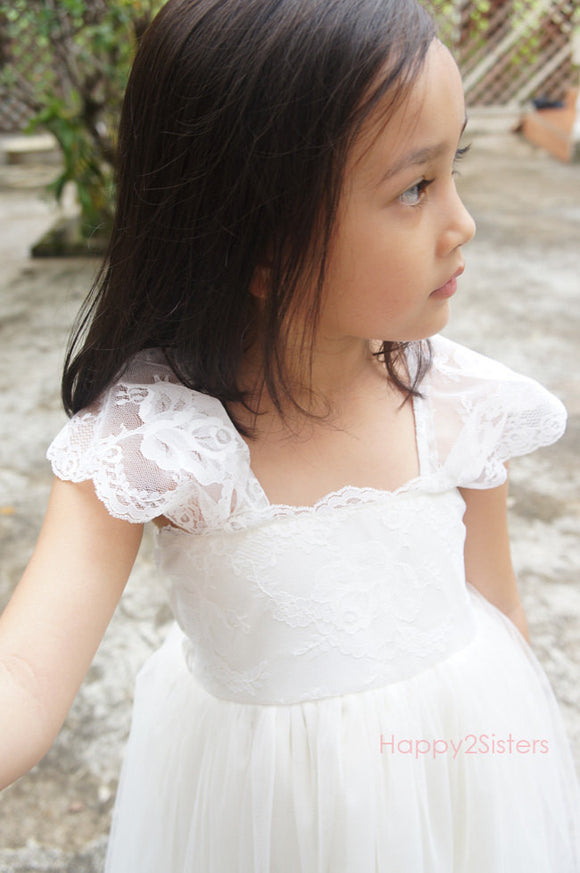 Ivory Lace flower girl dress Lace flower girl dress Ivory flower girl dress Tea Length girl dress Girl gown Girl dress