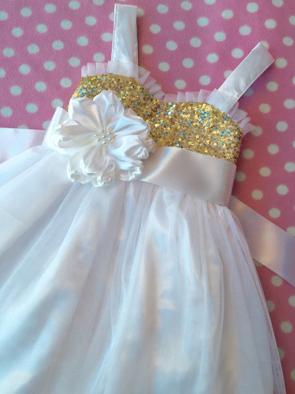 Gold sequin flower girl dress, White flower girl, Gold and white flower girl dress, flower girl dress tulle, Flower girl dress white