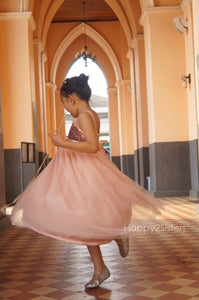 Rose gold sequin and blush flower girl dress