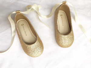 Gold glitter shoes for girl Flower girl shoe Girl gold shoe