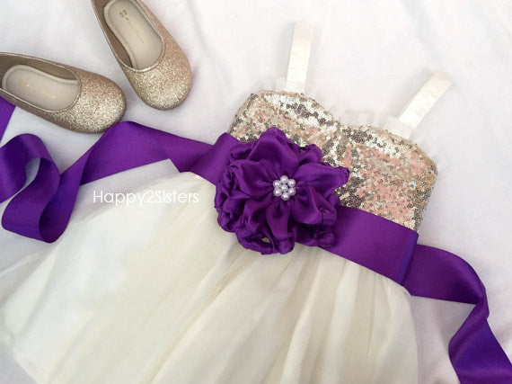 Gold sequin with ivory tulle with purple sash Flower girl dresses