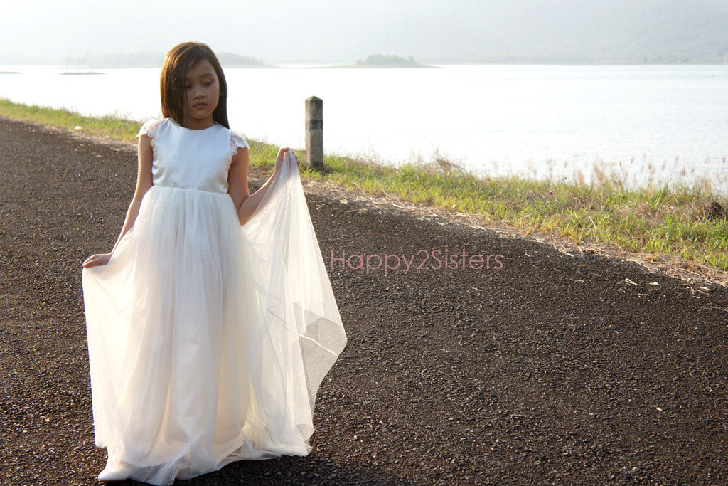 5e6054565ed ... Flower girls dress lace and tulle Beach flower girl dress Rustic flower  girl dress Ivory flower ...