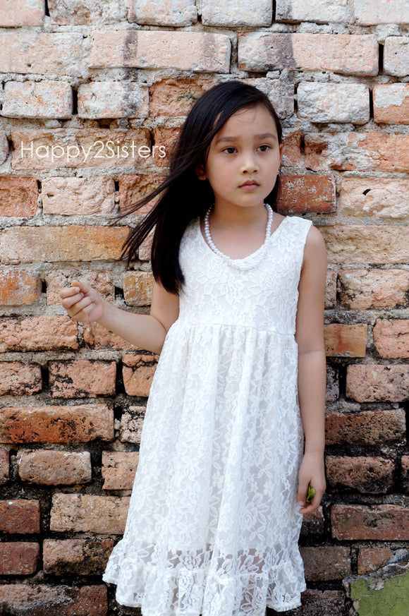 Lace ivory flower girl dress