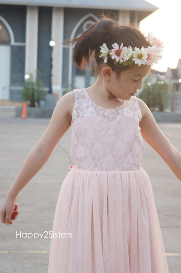 Blush pink flower girl dress Lace and tulle flower girl dres Flower girl dress for wedding