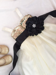 Gold and ivory flower girl dress with black sash Sequin flower girl dress Gold and black flower girl dress