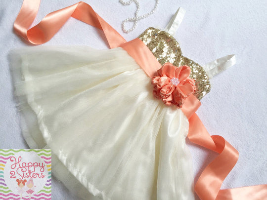 Gold sequin and ivory flower girl dress with peach sash Girl gown Peach flower girl dress