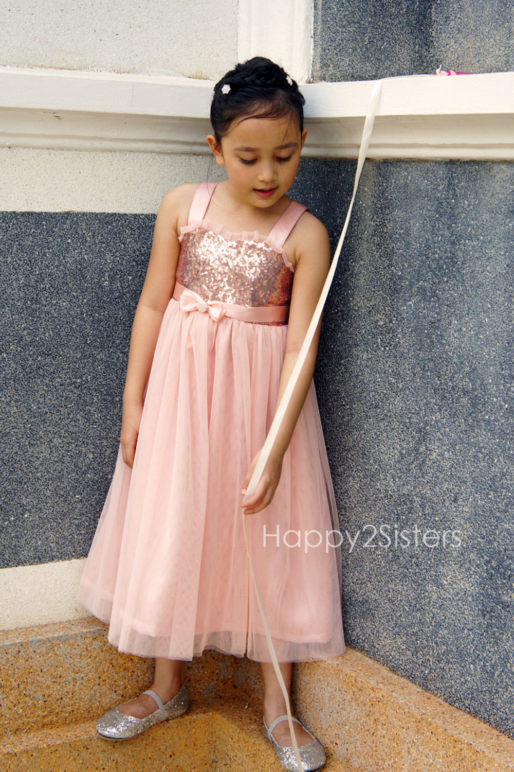 d48396b6d Rose gold sequin and blush flower girl dress – Happy2sisters