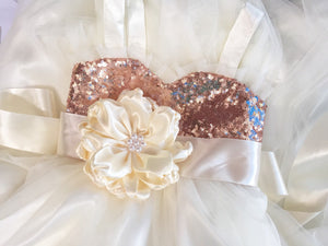 Rose gold sequin and ivory dress Flower girl dresses