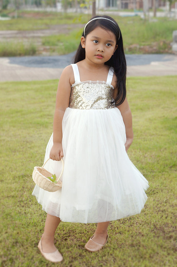 Champagne gold and ivory dress/ Sequin dress for girl/ Flower girl dress for wedding/ Tulle flower girl dress/ Ivory flower girl dress