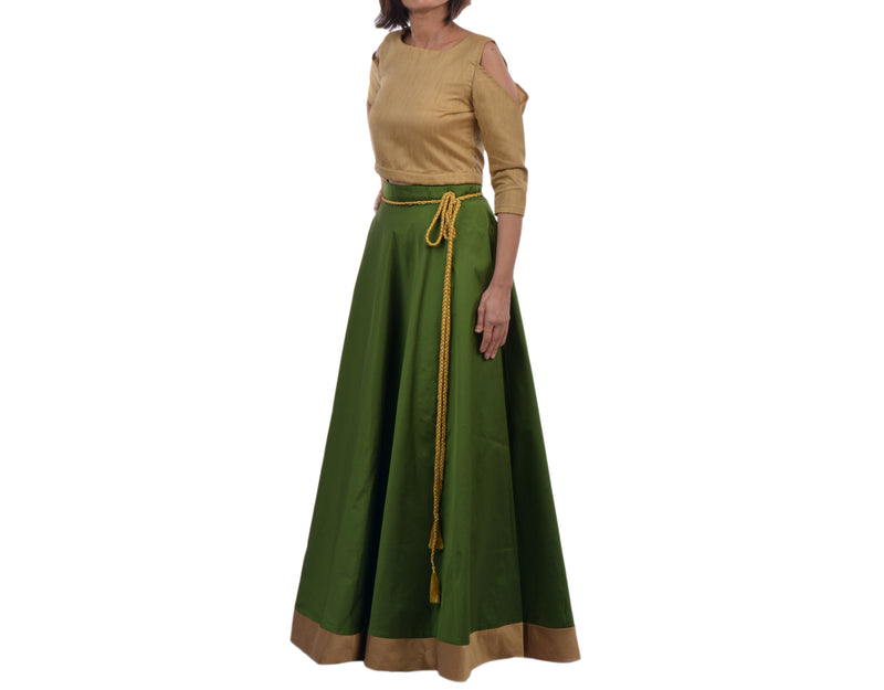 Green Wrap Around Skirt  - WA000112