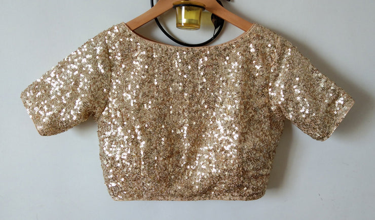 DeeVineeTi Custom Made Designer Gold Sequins Half Sleeves Indian Saree Blouse Crop Top 1