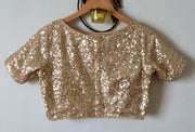 DeeVineeTi Custom Made Designer Gold Sequins Half Sleeves Indian Saree Blouse Crop Top 2