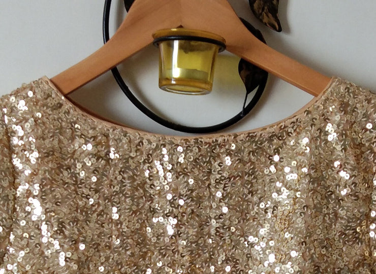 DeeVineeTi Custom Made Designer Gold Sequins Half Sleeves Indian Saree Blouse Crop Top 3