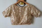 DeeVineeTi Custom Made Designer Gold Sequins Half Sleeves Indian Saree Blouse Crop Top 4