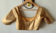 DeeVineeTi Custom Made Designer Gold Silk Solid Half Sleeves Indian Saree Blouse 2