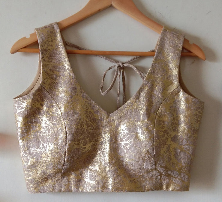 DeeVineeTi Custom Made Designer Jute Gold Foil Sleeveless Indian Saree Blouse 1