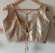 DeeVineeTi Custom Made Designer Jute Gold Foil Sleeveless Indian Saree Blouse 2