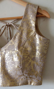 DeeVineeTi Custom Made Designer Jute Gold Foil Sleeveless Indian Saree Blouse 3