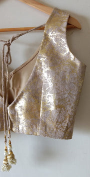 DeeVineeTi Custom Made Designer Jute Gold Foil Sleeveless Indian Saree Blouse 4