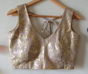 DeeVineeTi Custom Made Designer Jute Gold Foil Sleeveless Indian Saree Blouse 5