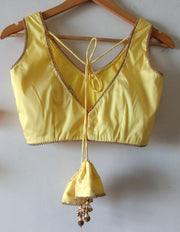 DeeVineeTi Custom Made Designer Yellow Taffeta Silk Sleeveless Indian Saree Blouse With Tassels 2