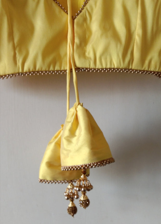 DeeVineeTi Custom Made Designer Yellow Taffeta Silk Sleeveless Indian Saree Blouse With Tassels 4