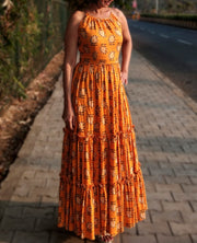 DeeVineeTi Made To Measure Indian Women's Cotton Sleeveless Summer Tiered Gathered Yellow Paisley Printed Maxi Dress Gown 10