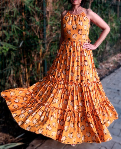 DeeVineeTi Made To Measure Indian Women's Cotton Sleeveless Summer Tiered Gathered Yellow Paisley Printed Maxi Dress Gown 1