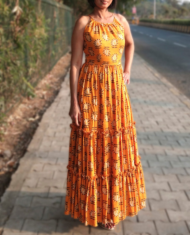DeeVineeTi Made To Measure Indian Women's Cotton Sleeveless Summer Tiered Gathered Yellow Paisley Printed Maxi Dress Gown 3