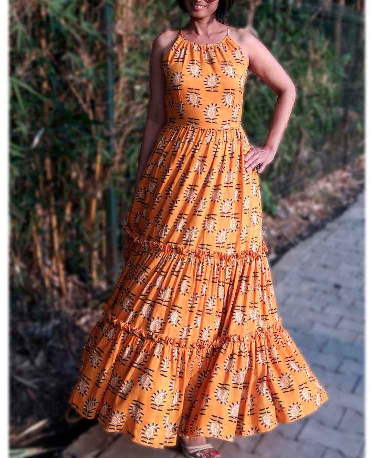 DeeVineeTi Made To Measure Indian Women's Cotton Sleeveless Summer Tiered Gathered Yellow Paisley Printed Maxi Dress Gown 4